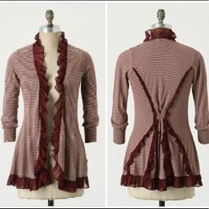Anthro Guinevere Burgundy & White Striped Cardigan